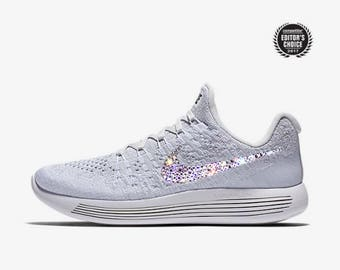 crystal Nike Lunarepic Low Flyknit 2 Bling Shoes with Swarovski Crystals Women's Running Shoes white