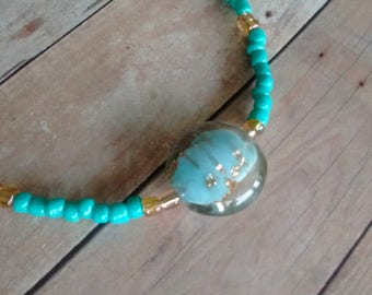 Turquoise Beaded with Glass Centerpiece Necklace