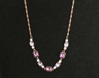 Vintage Copper (colored) Necklace and Earrings with Purple and Clear Rhinestones