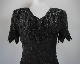 1980s Witchy Black Beaded Gown // Maxi Dress // Vintage Beaded Dress // Formal Dress // Laurence Kazar // Prom Dress // Witchy Clothing