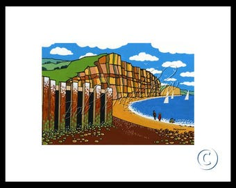 East Cliff, West Bay, Mounted Giclee Print