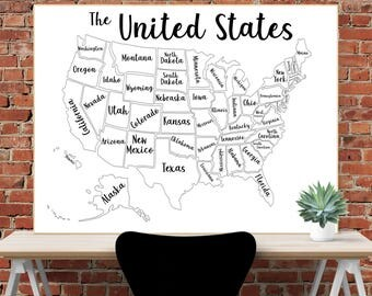 United States Map Coloring Printable Poster 48x36 Inch For Engineering Print 8 5x11 For