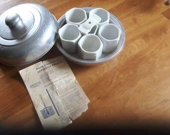 Yogurt maker. Yaourtiere.  Kitchen utensils. Vintage. Aluminium. 50 's.  Porcelain. Yalacta.