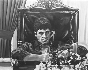 Limited time OFFER GBP550 Al Pacino SCARFACE Oil on Canvas Original Hand Painted