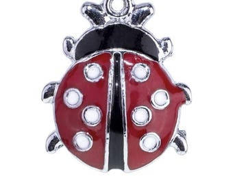 Lot of 10 charms Ladybug enamelled metal red and black 22x18mm