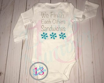 We Finish Each Others Sandwiches, winter, christmas, baby onesie, baby outfits, blue glitter, silver glitter, snowflakes, frozen