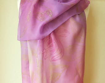 """Scarf """"Magnolia"""" Silk chiffon. Dyed and block printed by hand."""