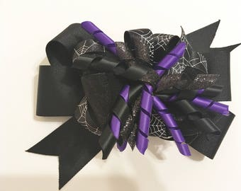 Layered Halloween Spider Web Bow