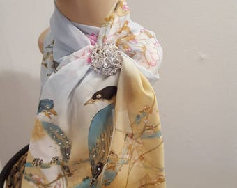 Ladies Glamour Crystal adorned scarf & scarf clip-gift boxed-Sunshine Birds