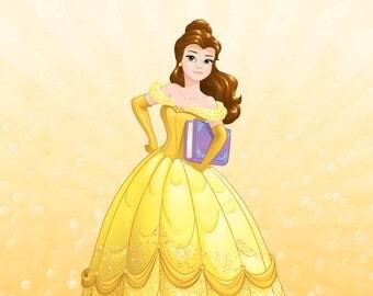 Belle Custom Princess Portrait Illustration Art Poster Print - Wall Decor - Home Decor - Kids Decor - Nursery Art - Disney Princess