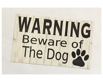 Dog Sign - Warning Beware Of The Dog Sign Paws Pet