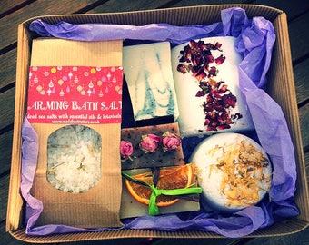 Bath Salts Pamper Gift Box with Handmade All Natural Soap & Bath Bombs