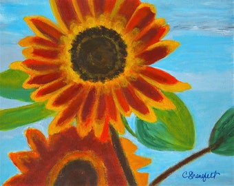 """Sunflower painting Original acrylic painting Wall art Home decor Bedroom art Free US shipping """"Happiness prevails"""""""
