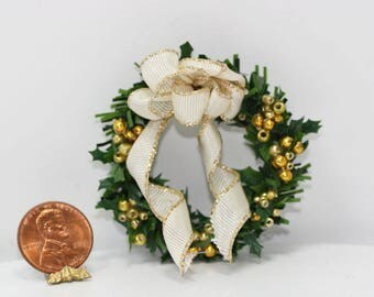 Dollhouse Miniature Christmas Ivory and Gold Wreath