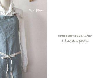 Linen apron sax blue linen 100% [MY BEST APRON]