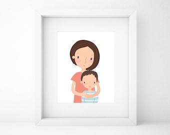 Custom family portrait/Mother's Day Gift/Mother Portrait/Gift for Mom/Gift for Family