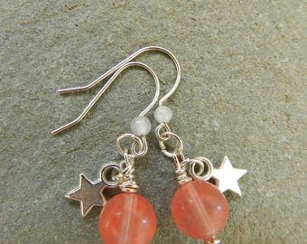 Cherry Quartz Earrings, Cherry Quartz and Star Dangle Earrings, Gift for Her, Birthday, Anniversay