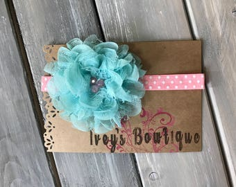 Pink and aqua headband (newborn-3 months)