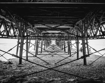 Landscape Photography, Black and White Landscape Photograph of the pier at Lytham St Annes, in England. Fine Art Photography, Wall Art