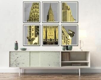 CHRYSLER Building 6 Frames Set New York City Manhattan Art DECO Chrysler Building Architecture Print 6 frames set