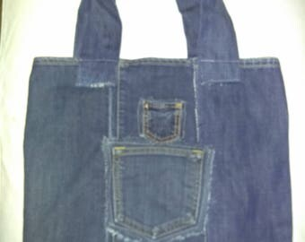 Upcycled denim tote, market bag, carry-all,beach bag, purse