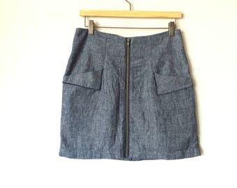 90s Blue Denim Mini Skirt Detailed Stiching
