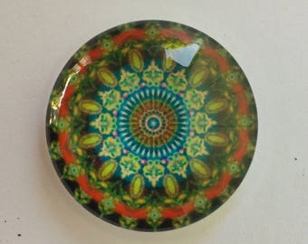 6 or 12 Red and Green Mandala Glass Photo Cabochon 25mm Round