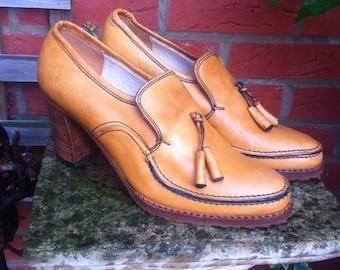 Lather Woman Shoes Beige Size eu 37 vintage