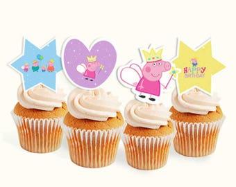 Peppa pig cardstock cutout printable+ get free cupcake toppers printable+ get free straw labels printable