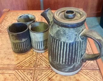 Tremar Pottery Coffee Pot and 3 Coffee Mugs