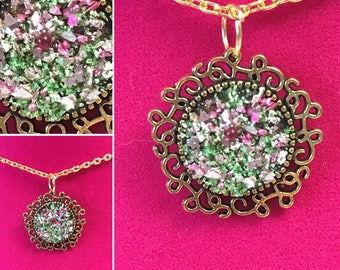 Pink and Green Golden Glitter Necklace