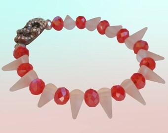 Red White Silver Spike Stretchy Skull Beaded Bracelet