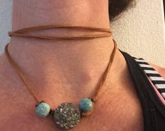 essential oil diffuser choker necklace, lava stones