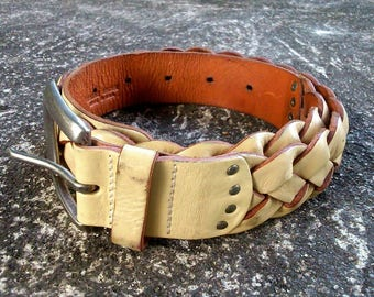 Polo Ralph Lauren Vintage Woven Leather Belt Stamped Logo Made In USA