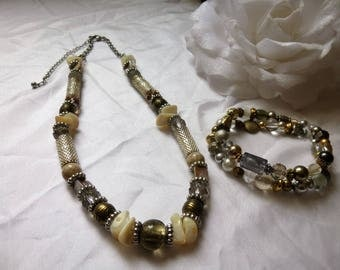 necklace and bracelets set shell and metal beads