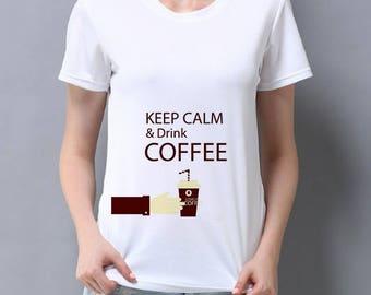 Keep Calm and Drink Coffee Quote T-shirt Print Art Tee Shirt White Fashion