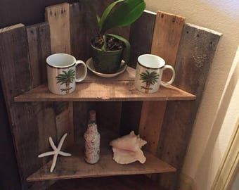 Reclaimed rustic corner shelf