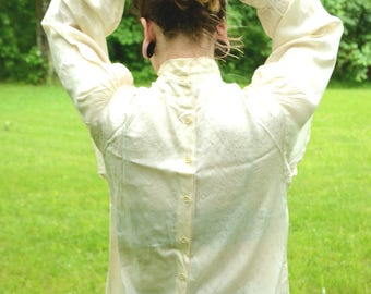PRICE REDUCED! Ivory Button-Back Blouse in Perfect Vintage Condition