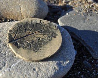 Ceramic brooch, hand made, gift, Clay, grey