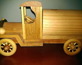Wood toy tanker truck