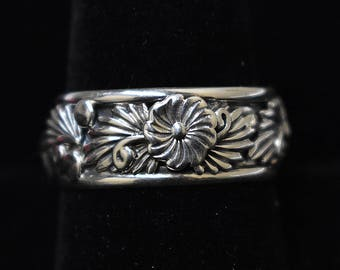 Size 10 Sterling Silver Ring, Leaf Pattern Band, Navajo SS New Mexico