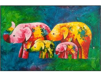 Abstract Elephant Color Painting on Canvas  Wall Art