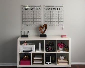 Wall Calendar - Monthly Calendar - Dry Erase Calendar - Acrylic Calendar - Extra Large Wall Calendar