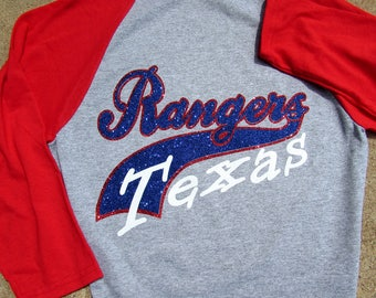 Texas Rangers Bling Short Sleeve Jersey V-Neck Shirt in SPARKLING GLITTER - Baseball Jersey Style with Red Short Sleeves