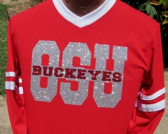 Ohio State University Buckeye Long or Short Sleeve Jersey  with White Contrasting V-Neck and Sleeve Stripes and Glitzy Silver & Red Glitter