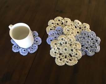 Purple, cream Crochet flower Coasters