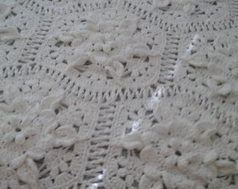 Gorgeous white crocheted afghan 100% cotton