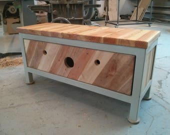 Reclaimed Wood and Steel Storage Chest