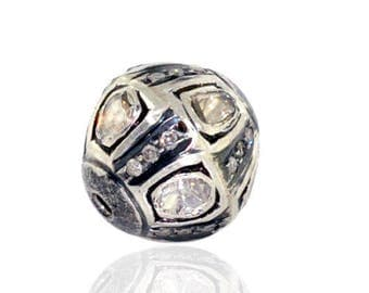Victorian style Rose cut Pave diamond large polki diamond 13mm bead Ball jewelry making / jewelry finding/ bracelets and necklace - PJBE2046