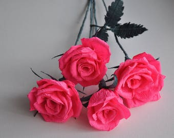 Crepe rose single or bouquet